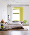 White bedroom yellow accent wall